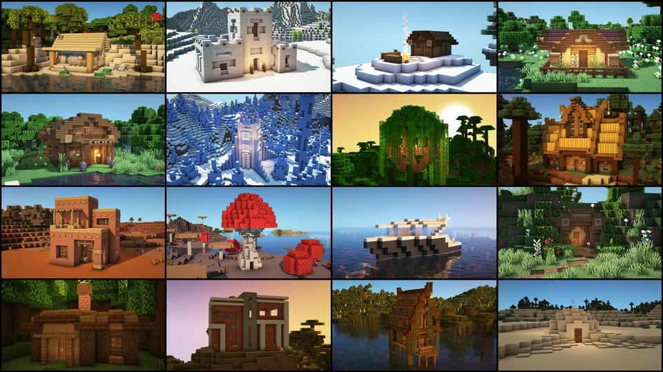 Image showing 16 different minecraft biomes